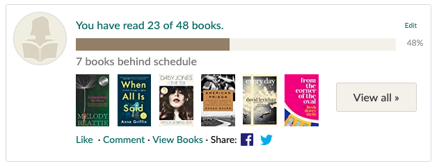 On Aug. 22, I am only 48% of the way toward my book goal at 23 of 48 books completed