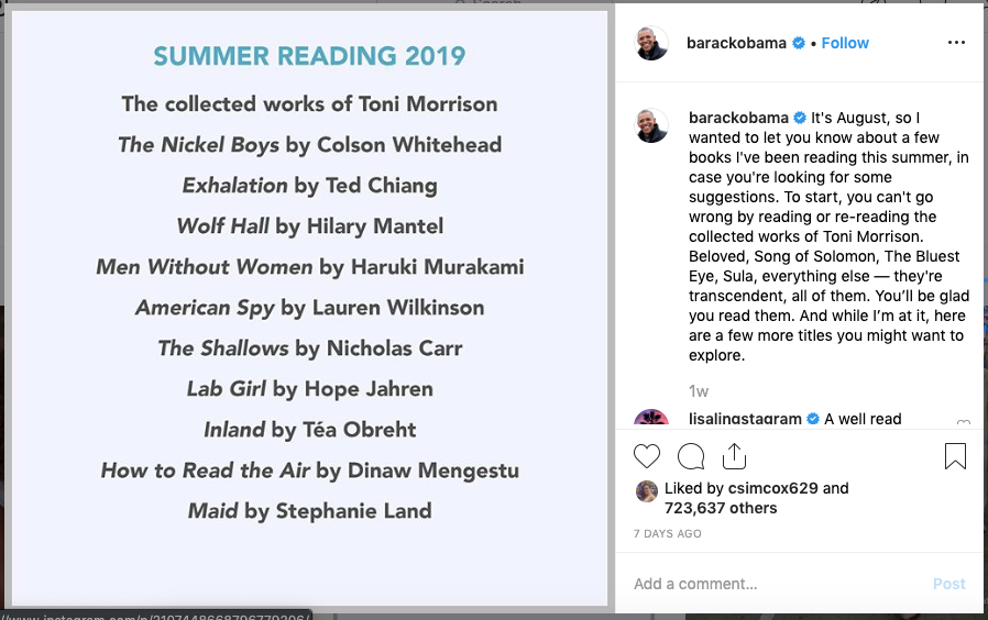 Barack Obama's 2019 summer reading list